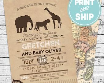 Printed Safari Baby Shower Invitations and Envelopes - Print and Ship Invitations