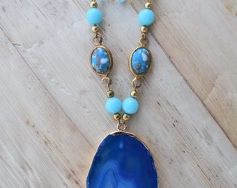 Blue druzy pendant necklace