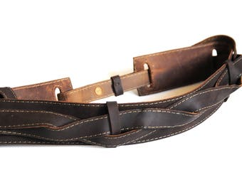 Custom leather belt, One size fits all, Waist belt, Utilitarian belt, Reversable, Gift for her