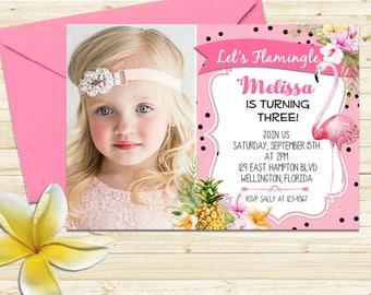 Pink Flamingo Invitation, Let's Flamingle Invitation, Tropical Flamingo Birthday Invitation, Luau Pool Party, Printable Invite