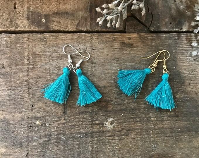 boho tassel earrings, mermaid teal green tassel earrings, dangle earrings, unique bohemian gift for girlfriend, fall jewelry trends