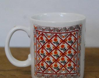 Vintage Otagiri Enesco Quilt Folk Art Mug 1996
