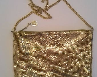 Whiting and Davis Gold Metal Mesh Shoulder Bag - Purse with Shoulder Chain and Zip Top - Vintage Evening Bag-
