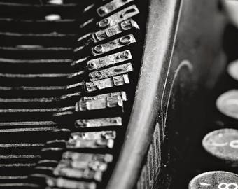 Typewriter, Black and White, Vintage, Home Decor, Original Fine Art Photograph, Print