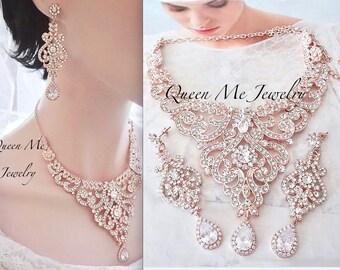 Rose gold jewelry set, Rose gold bridal jewelry set, Rose gold statement jewelry set,Rose gold wedding jewelry set,Wedding jewelry set, MIA