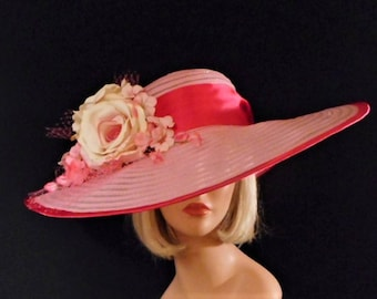 Hot Pink Hat - Pink on Pink Hat - Kentucky Derby Hat - Run for the Roses