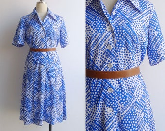 15% SALE (Code In Shop) - Vintage 70's Cobalt Blue & White Houndstooth Print Shirt Dress M or L
