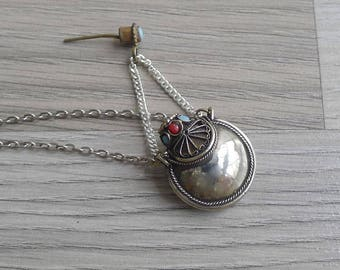 10-25% OFF Code In Shop - Vintage 80's Tibetan Ethnic Snuff Bottle Silver Necklace