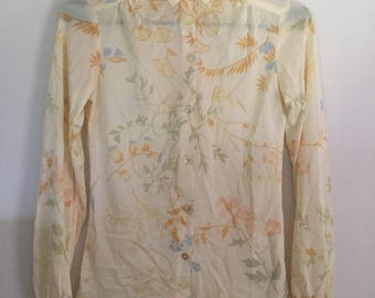 vintage 1970s blouse, 70s yellow shirt, fall, floral, college town, polyester blouse, xs, small, hippie ,hippy, disco, shirt, top