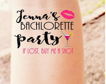 Bachelorette Party Temporary Tattoo Custom Bridesmaid Hen Party Wedding If Found Buy Please Buy Me A Drink Bride Bachelorette Tattoo