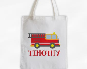 Personalized Fire Truck Canvas Tote Bag - Custom Travel, Overnight, Sports Bag for Kids in Red - Reusable Tote (3008)