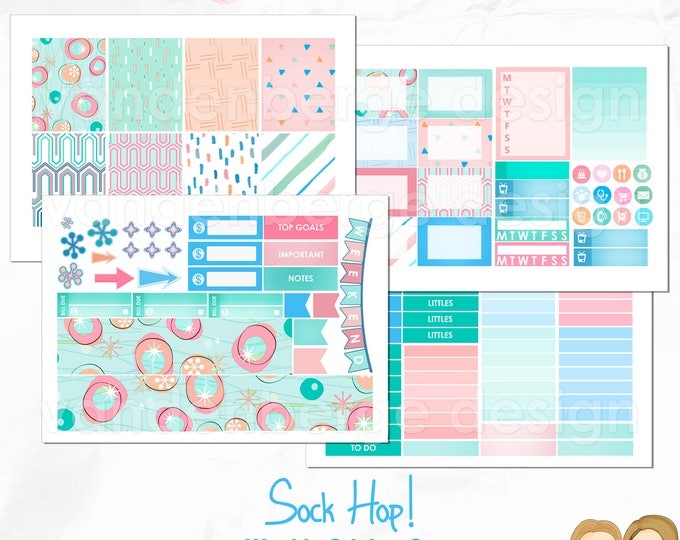 Sock Hop! Planner Stickers sized for the Erin Condren Vertical Planner or  The MAMBI Happy Planner