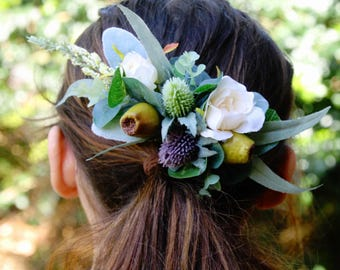 Silk flower hair comb. Roses, thistle flower, gumnuts, eucalyptus, wildflowers. Hair flowers for wedding, bridal, photoshoot, party, races