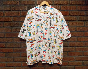 Vintage 80s HEET Sportswear Happy Campers Novelty Print Button Down Shirt Men's XL