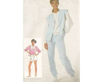 1980s Jogger Pants with Top Vest & Shorts Simplicity 7851 Opt Size 6-10 (B30.5-32.5) or 12-16 (B34-38) Yoga Gym Vintage Sewing Pattern