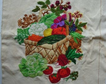 "Vintage Hand Embroidered Crewel Work Panel "" Vegetable Basket"" The Creative Circle 1980"