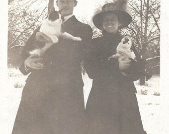 "Vintage Snapshot ""Momma Cat & Kitten"" Snow Winter Man and Woman Hold Cats Found Vernacular Photo"