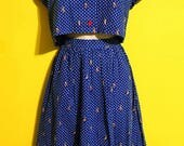 Vintage 80s Womens Handmade Sailboat Crop Top Skirt Suit Hipster Boho