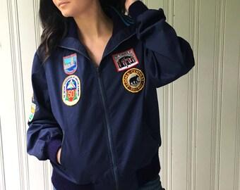 vintage 1970s Adidas original cotton canvas Jacket Canadian American patches Windbreaker warm up jacket Size Large