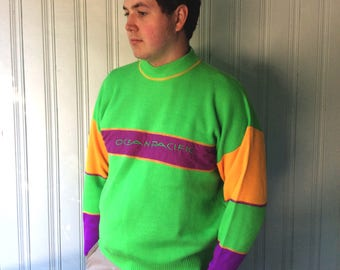 vintage 1980s Ocean Pacific Neon Sweater L or XL bright Lime Green and Purple Fuchsia and Orangey yellow Acrylic crew neck vintage sweater