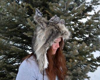 Caribou Winter Hat. Reindeer Ear Flap Hat.