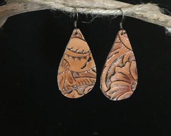Tooled leather earrings - Teardrop earrings - Cowgirl earrings