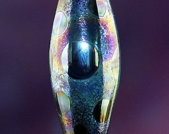 Crowded Galaxy Handmade Lampworked Glass Bead OOAK Black Blue Purple Silver Gold Iridescent Barrel Focal Lampwork
