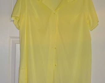 Vintage Pajama Top Yellow Nylon Shadowline Large Lace Trim