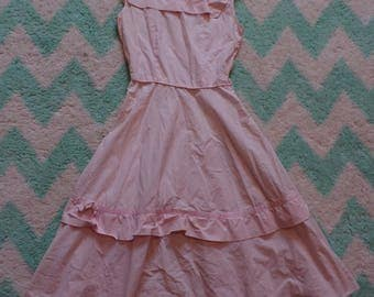 PINK COTTON 1950's SUNDRESS sun dress 50's xs 25 waist 33 bust