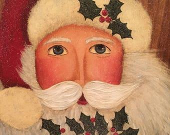hand painted vintage santa picture