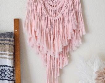 Pink Macrame Wall Hanging Yarn Wall Hanging Tapestry / Pink Nursery Decor Boho Bohemian Hanging /Tree Branch Pink Hanging Tapestry / OOAK