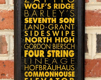 Craft Breweries Columbus OH Wall Art Plaque Sign Home Decor Scroll Vintage Style Gift Present Beer Brewery Ale Stout Pilsner IPA Classic