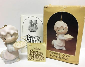 Precious Moments Ornament /  Dropping Over for Christmas  /  1982  / Christmas Pie / Original Box and Papers