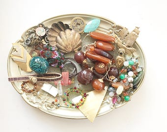 BOHO vintage DeStash Lot! Awesome Price!! Costume jewelry lot, salvage, supply lot, bead lot, up cycle, repair, repurpose LOT B4