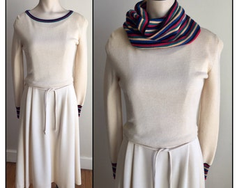 Vintage 1970s 80s Ciao Ltd Misses' Cream Wool Sweater Dress Removable Cowl XS 0 2