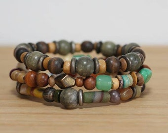 Boho Bracelet Set, Wood Bracelet, Stackable Bracelet, Hippie Jewelry, Festival Bracelets, Metal Bracelet, Mens Bracelet Set, Earth Tone