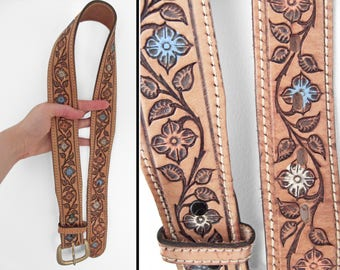 1970s TOOLED Leather Belt Floral Stamped Pattern Painted White Blue Pink Size 28