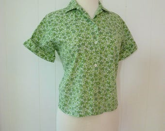 50's Paisley Flower Blouse Buttondown Shirt Floral Print Cotton Top XS S
