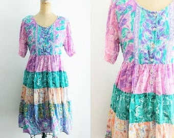 Vintage 1990s Watercolor Rainbow Tiered Dress Rainbow Boho Dress Gypsy Dress Rainbow Dress Watercolor Dress Rainbow Floral Large XL