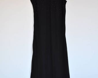 Vintage Black Chiffon Sleeveless Maxi Evening Dress Cocktail Gown with Beaded Bodice