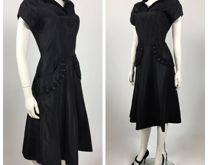 1940's Black Taffeta and Velvet Cocktail Dior Style Dress - New Look Design - Jet Beaded Pockets - 40's Mourning Dress - Waist: 29 - Sz 8