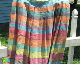 Vintage Pastel Striped Pleated Summer skirt