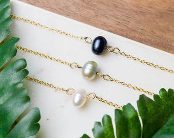 Delicate pearl choker necklace | Dainty gold plated layering necklace | Bridesmaids gifts | Gifts for her under 20 | Mother's Day |