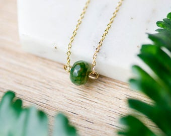 Gemstone Agate pendant necklace | Delicate gold plated layering necklace | Gifts for her under 20 | Gold plated agate stone bead jewelry |