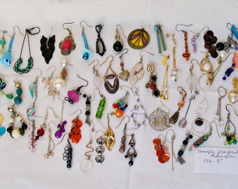 "64 pc Lot SINGLE DANGLE EARRINGS Pierced 1 1/4""- 3"" Genuine Stones Rhinestones Wearable Craft Mixed Media Orphan Salvage Harvest Destash .S"
