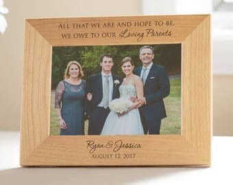 Personalized Parents of the Bride & Groom Picture Frame: Wedding Gift for Parents, Parents Wedding Thank You, Engraved Keepsake SHIPS FAST