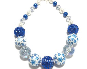 Toddler or Girls Blue and White Snowflake Chunky Necklace - Snowflake Christmas Necklace - Winter Wonderland Necklace - Royal Blue and White