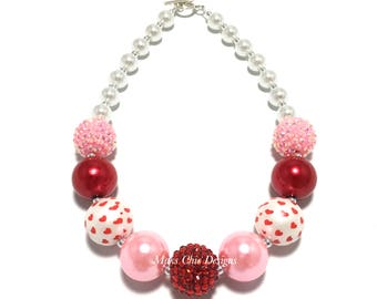Toddler or Girls Pink, Red and White Valentines Day Chunky Necklace - Girls Heart chunky Necklace - Love Chunky Necklace - Red Necklace