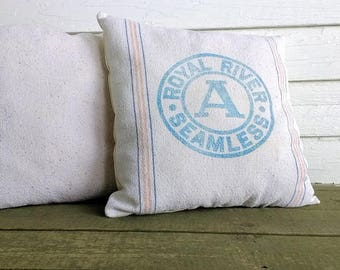 Vintage flour sack pillows (set of 2) decorative pillows white farmhouse pin stripe feed sack modern country accent pillow white cottage