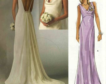Vogue 2965 Wedding Gown fitted bias floor length dress soft cowl front plunge back with train Size 16-18-20 Bridal Original uncut pattern